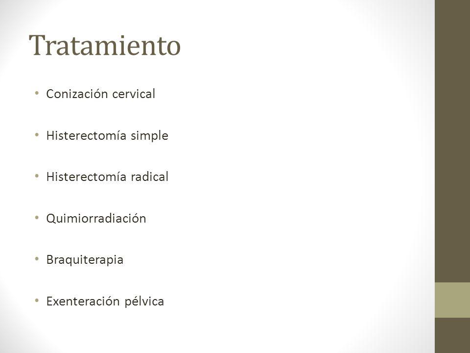 Tratamiento Conización cervical Histerectomía simple Histerectomía radical Quimiorradiación Braquiterapia Exenteración pélvica