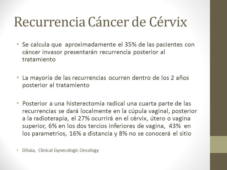 Recurrencia Cáncer de Cérvix Se calcula que aproximadamente el 35% de las pacientes con cáncer invasor presentarán recurrencia posterior al tratamiento La mayoría de las recurrencias ocurren dentro de los 2 años posterior al tratamiento Posterior a una histerectomía radical una cuarta parte de las recurrencias se dará localmente en la cúpula vaginal, posterior a la radioterapia, el 27% ocurrirá en el cérvix, útero o vagina superior, 6% en los dos tercios inferiores de vagina, 43% en los parametrios, 16% a distancia y 8% no se conocerá el sitio DiSaia, Clinical Gynecologic Oncology