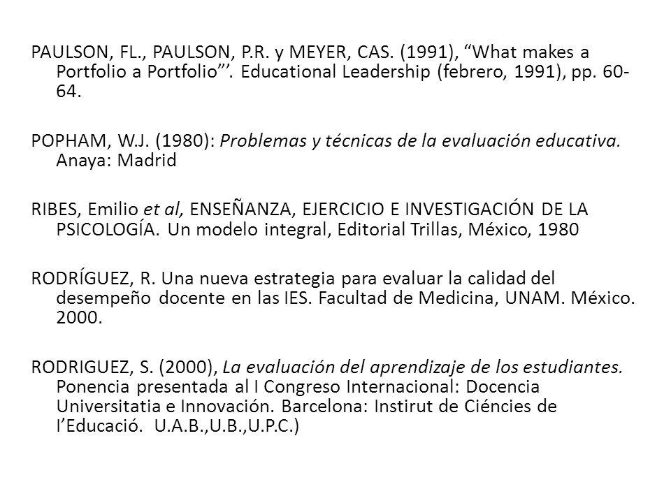 PAULSON, FL., PAULSON, P.R.y MEYER, CAS. (1991), What makes a Portfolio a Portfolio.