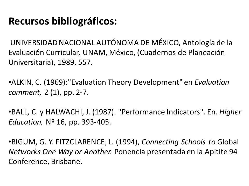 Recursos bibliográficos: UNIVERSIDAD NACIONAL AUTÓNOMA DE MÉXICO, Antología de la Evaluación Curricular, UNAM, México, (Cuadernos de Planeación Universitaria), 1989, 557.