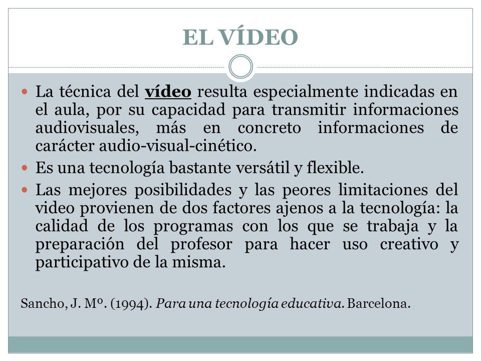 La técnica del vídeo resulta especialmente indicadas en el aula, por su capacidad para transmitir informaciones audiovisuales, más en concreto informa