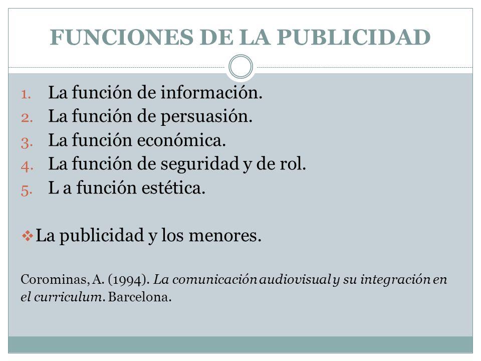 FUNCIONES DE LA PUBLICIDAD 1. La función de información. 2. La función de persuasión. 3. La función económica. 4. La función de seguridad y de rol. 5.