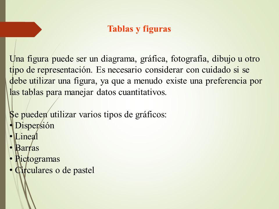 Tablas y figuras Una figura puede ser un diagrama, gráfica, fotografía, dibujo u otro tipo de representación. Es necesario considerar con cuidado si s