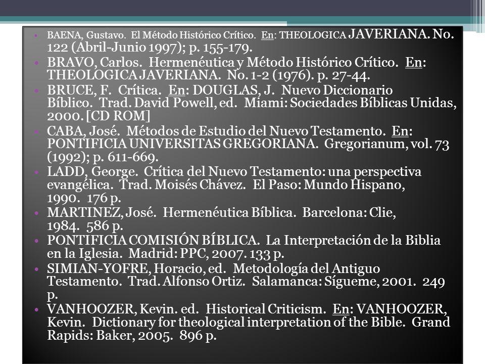 BAENA, Gustavo. El Método Histórico Crítico. En: THEOLOGICA JAVERIANA. No. 122 (Abril-Junio 1997); p. 155-179. BRAVO, Carlos. Hermenéutica y Método Hi