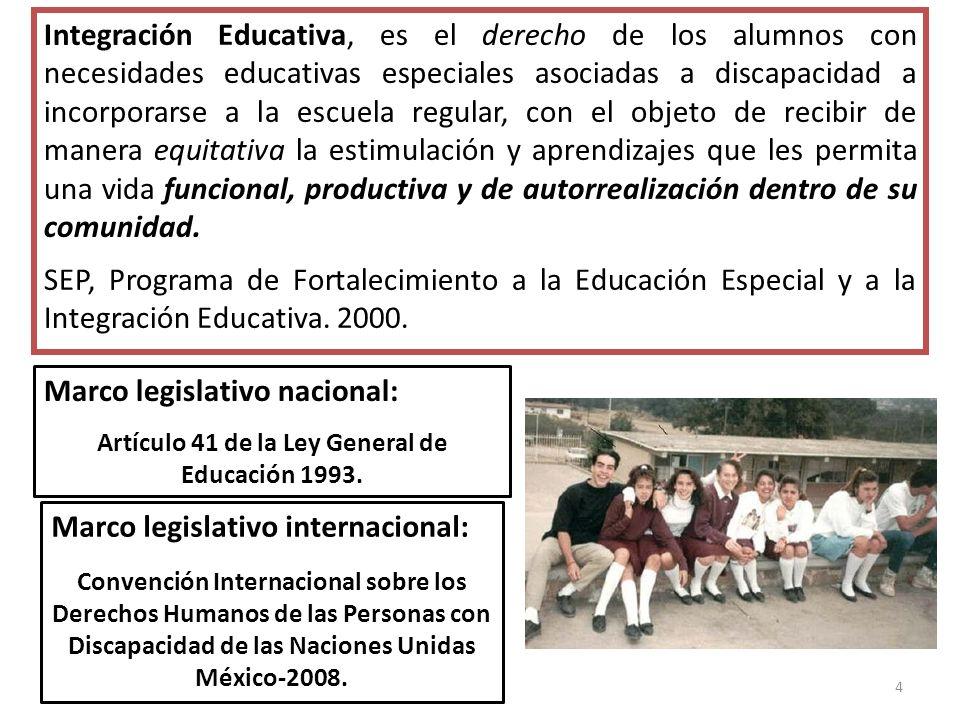 4 Integración Educativa, es el derecho de los alumnos con necesidades educativas especiales asociadas a discapacidad a incorporarse a la escuela regul