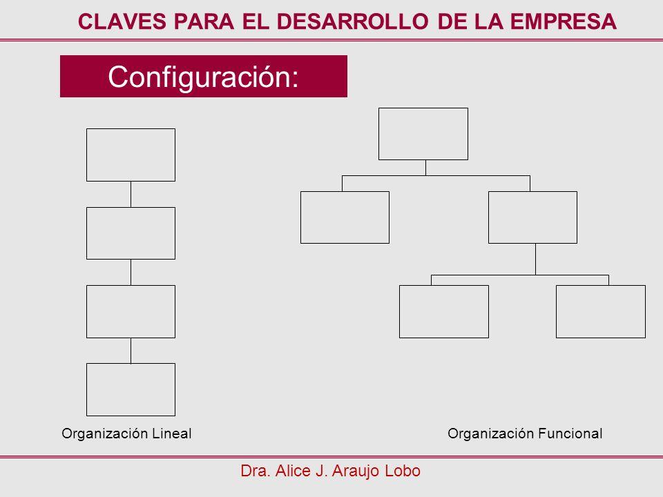 Configuración: Dra. Alice J. Araujo Lobo CLAVES PARA EL DESARROLLO DE LA EMPRESA Organización LinealOrganización Funcional