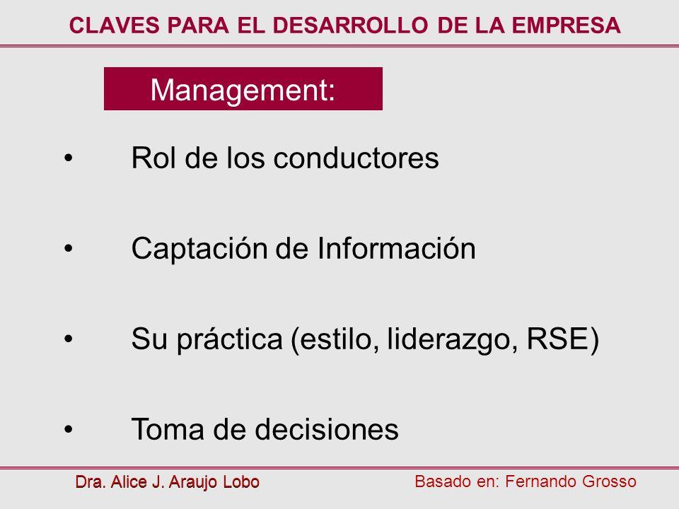 Management: Dra. Alice J. Araujo Lobo Rol de los conductores Captación de Información Su práctica (estilo, liderazgo, RSE) Toma de decisiones CLAVES P
