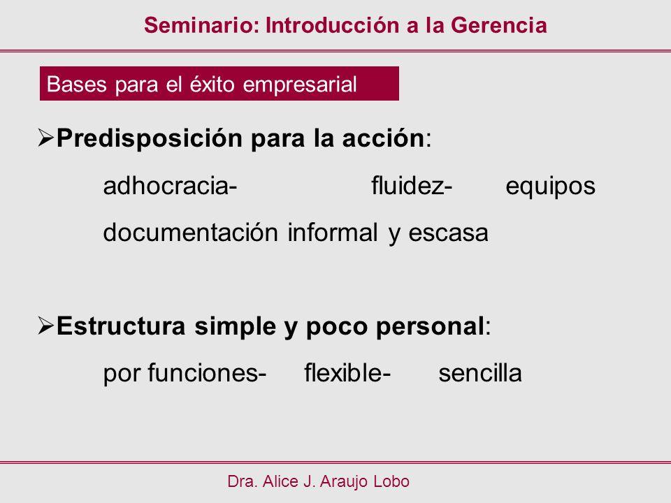 Seminario: Introducción a la Gerencia Dra. Alice J. Araujo Lobo Bases para el éxito empresarial Predisposición para la acción: adhocracia-fluidez-equi