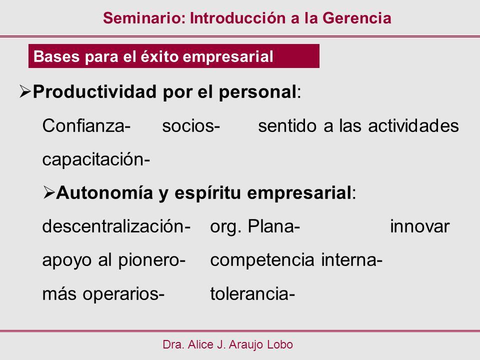 Seminario: Introducción a la Gerencia Dra. Alice J. Araujo Lobo Bases para el éxito empresarial Productividad por el personal: Confianza-socios- senti