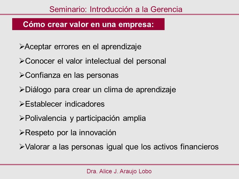 Dra. Alice J. Araujo Lobo Seminario: Introducción a la Gerencia Cómo crear valor en una empresa: Aceptar errores en el aprendizaje Conocer el valor in