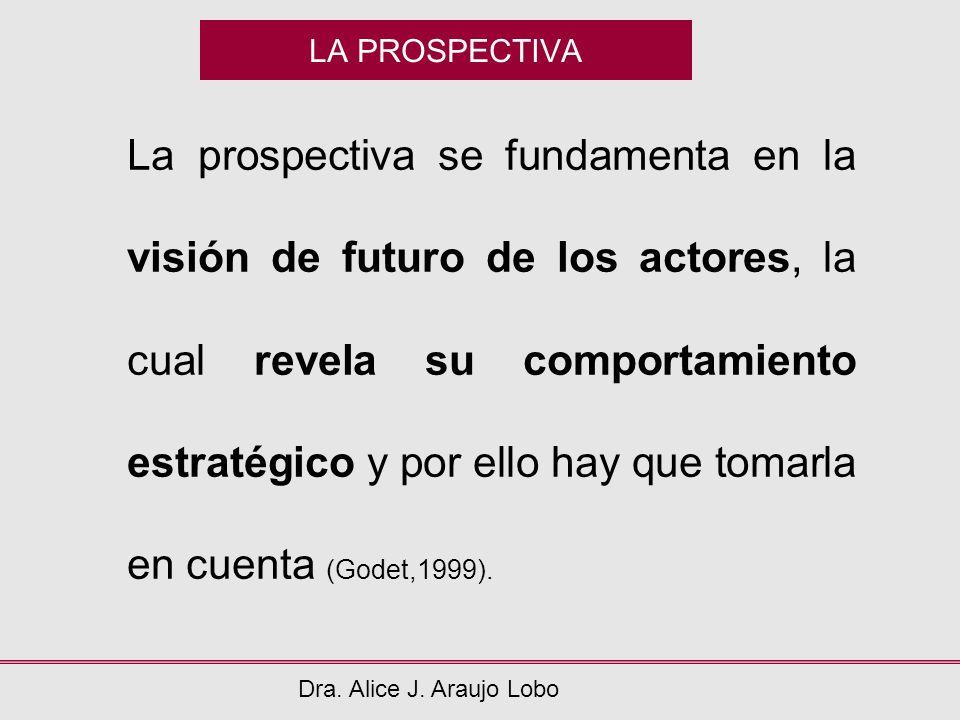 LA PROSPECTIVA Dra. Alice J. Araujo Lobo La prospectiva se fundamenta en la visión de futuro de los actores, la cual revela su comportamiento estratég