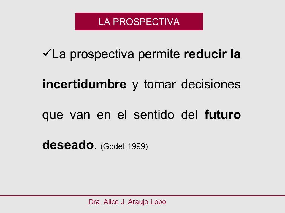 LA PROSPECTIVA Dra. Alice J. Araujo Lobo La prospectiva permite reducir la incertidumbre y tomar decisiones que van en el sentido del futuro deseado.