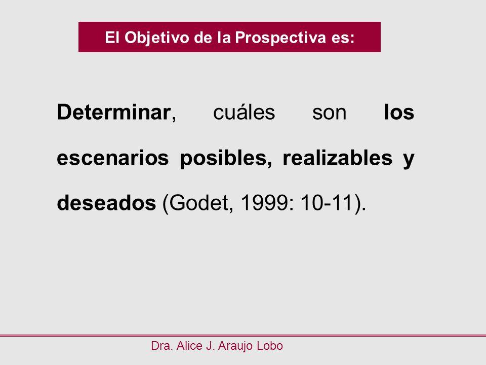El Objetivo de la Prospectiva es: Dra. Alice J. Araujo Lobo Determinar, cuáles son los escenarios posibles, realizables y deseados (Godet, 1999: 10-11
