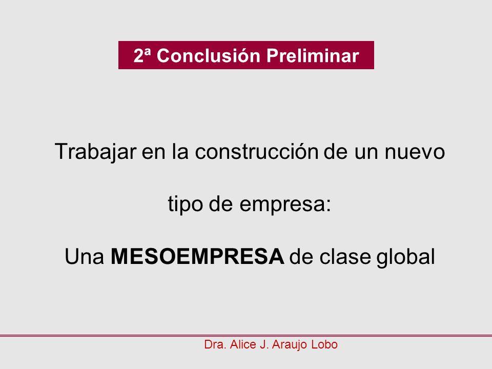 Trabajar en la construcción de un nuevo tipo de empresa: Una MESOEMPRESA de clase global Dra. Alice J. Araujo Lobo 2ª Conclusión Preliminar