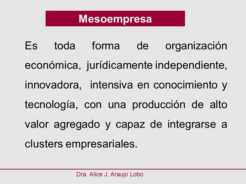 Mesoempresa Dra. Alice J. Araujo Lobo Es toda forma de organización económica, jurídicamente independiente, innovadora, intensiva en conocimiento y te