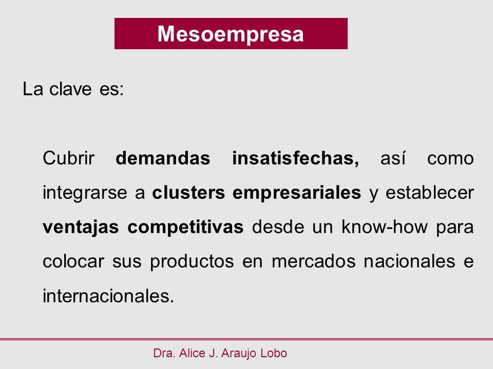 Mesoempresa Dra. Alice J. Araujo Lobo La clave es: Cubrir demandas insatisfechas, así como integrarse a clusters empresariales y establecer ventajas c