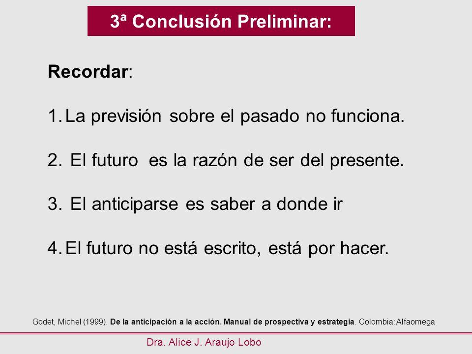 3ª Conclusión Preliminar: Dra. Alice J. Araujo Lobo Recordar: 1.La previsión sobre el pasado no funciona. 2. El futuro es la razón de ser del presente