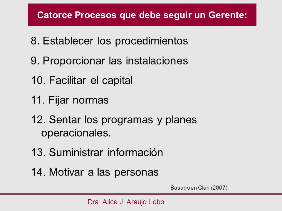Catorce Procesos que debe seguir un Gerente: Dra. Alice J. Araujo Lobo 8. Establecer los procedimientos 9. Proporcionar las instalaciones 10. Facilita