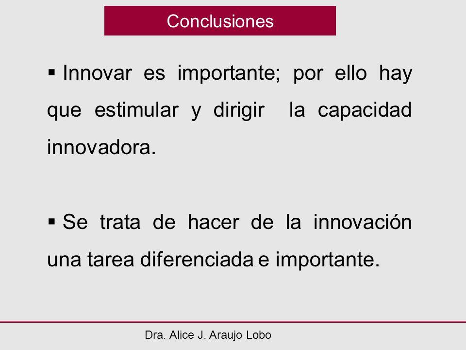 Conclusiones Dra. Alice J. Araujo Lobo Innovar es importante; por ello hay que estimular y dirigir la capacidad innovadora. Se trata de hacer de la in