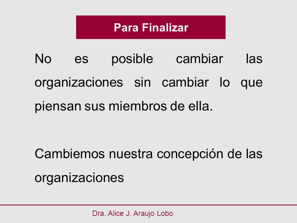Para Finalizar Dra. Alice J. Araujo Lobo No es posible cambiar las organizaciones sin cambiar lo que piensan sus miembros de ella. Cambiemos nuestra c