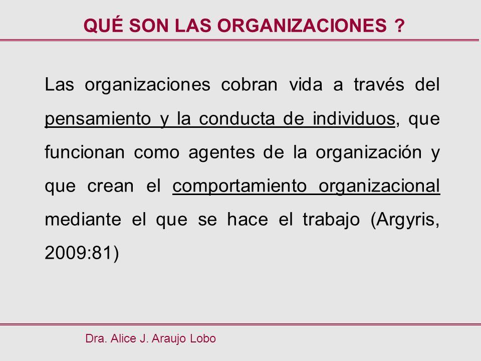 Dra. Alice J. Araujo Lobo QUÉ SON LAS ORGANIZACIONES ? Las organizaciones cobran vida a través del pensamiento y la conducta de individuos, que funcio