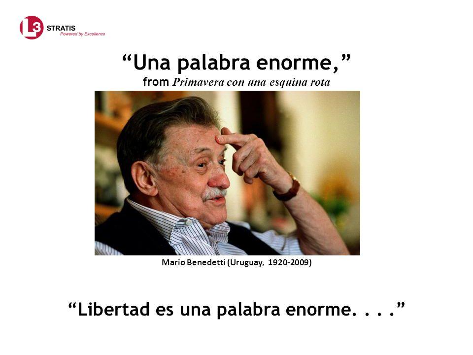 Una palabra enorme, from Primavera con una esquina rota Mario Benedetti (Uruguay, 1920-2009) Libertad es una palabra enorme....