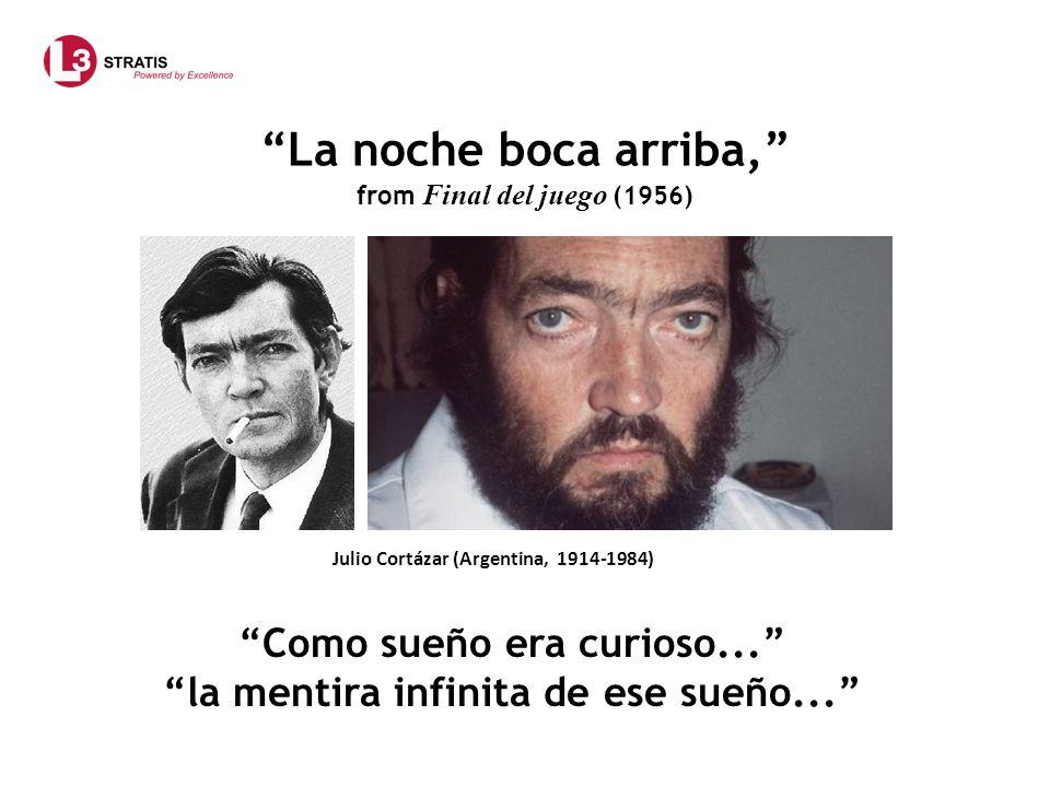 La noche boca arriba, from Final del juego (1956) Julio Cortázar (Argentina, 1914-1984) Como sueño era curioso... la mentira infinita de ese sueño...