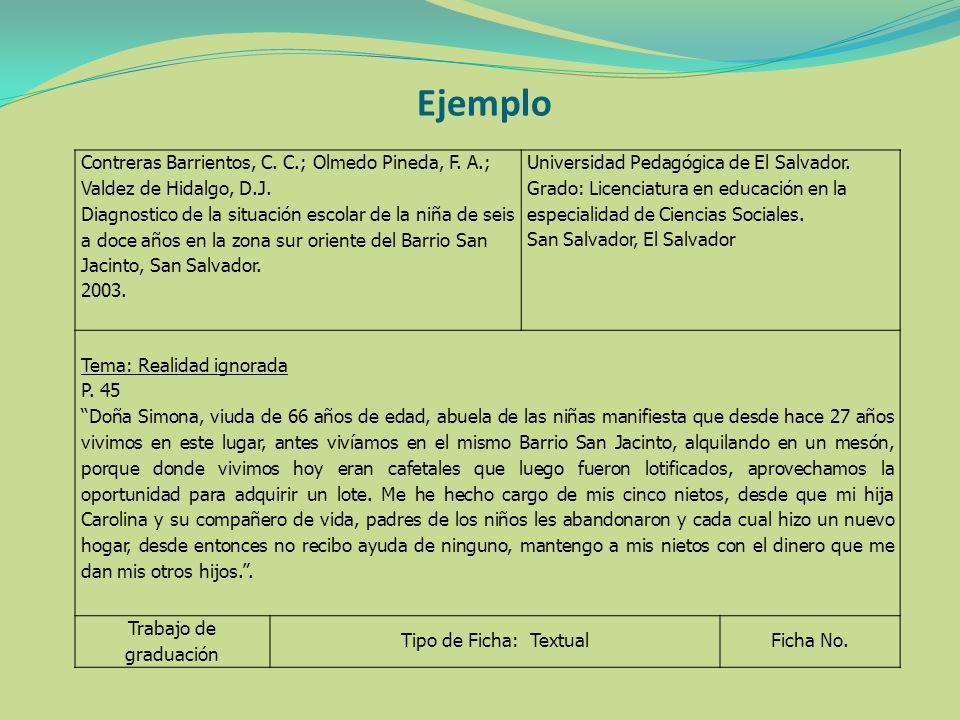 Ejemplo Contreras Barrientos, C. C.; Olmedo Pineda, F. A.; Valdez de Hidalgo, D.J. Diagnostico de la situación escolar de la niña de seis a doce años