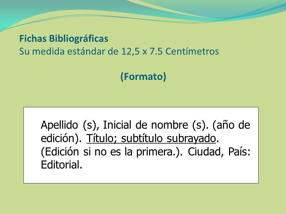 (Formato) Apellido (s), Inicial de nombre (s). (año de edición). Título; subtítulo subrayado. (Edición si no es la primera.). Ciudad, País: Editorial.