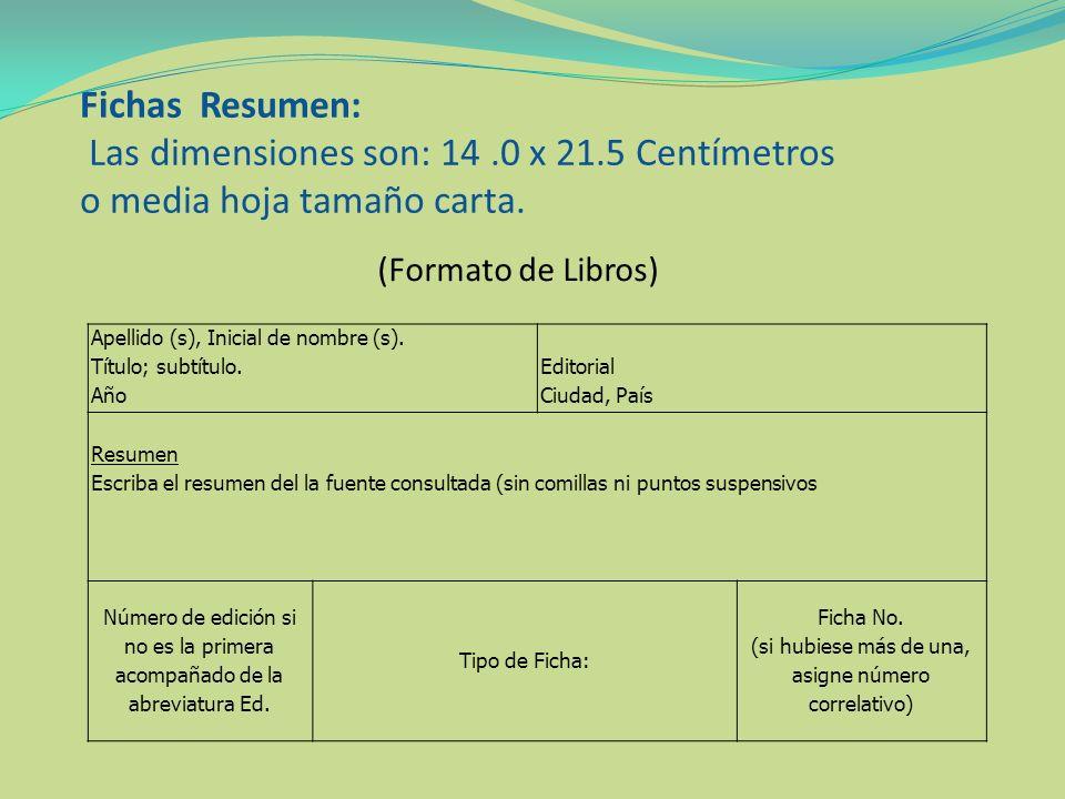 Fichas textuales (Formato Documento Web) Apellido (s), Inicial de nombre (s).