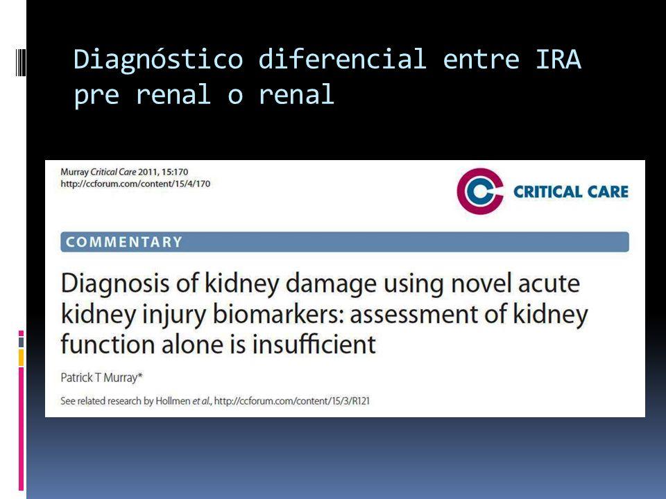 Diagnóstico diferencial entre IRA pre renal o renal