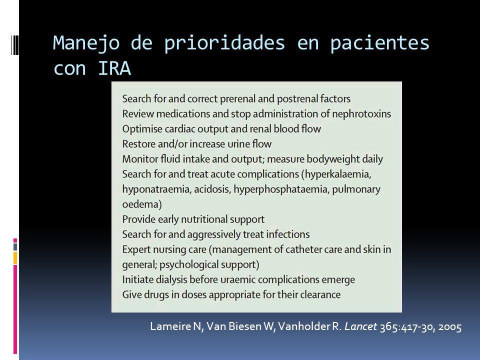 Manejo de prioridades en pacientes con IRA Lameire N, Van Biesen W, Vanholder R. Lancet 365:417-30, 2005