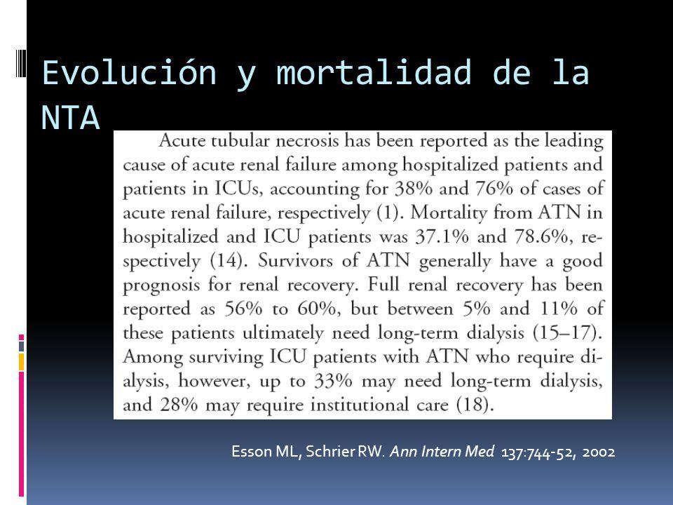 Evolución y mortalidad de la NTA Esson ML, Schrier RW. Ann Intern Med 137:744-52, 2002