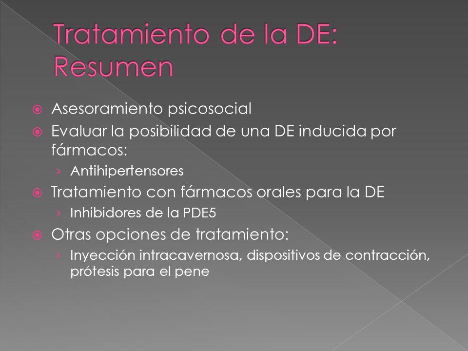 Asesoramiento psicosocial Evaluar la posibilidad de una DE inducida por fármacos: Antihipertensores Tratamiento con fármacos orales para la DE Inhibidores de la PDE5 Otras opciones de tratamiento: Inyección intracavernosa, dispositivos de contracción, prótesis para el pene