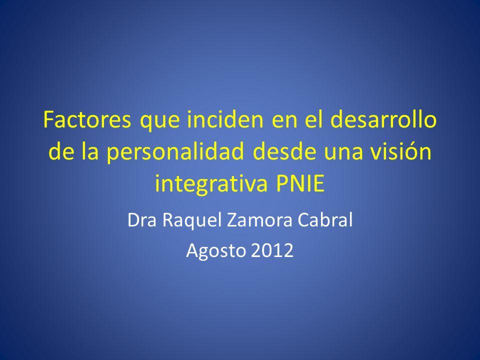Factores que inciden en el desarrollo de la personalidad desde una visión integrativa PNIE Dra Raquel Zamora Cabral Agosto 2012