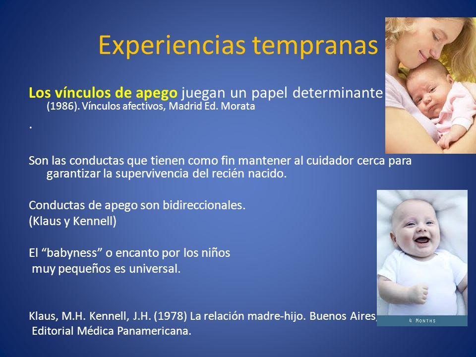 Experiencias tempranas Los vínculos de apego juegan un papel determinante (Bowlby,J. (1986). Vínculos afectivos, Madrid Ed. Morata. Son las conductas
