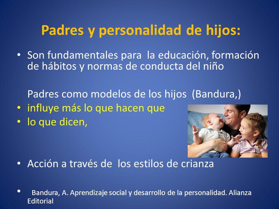 Padres y personalidad de hijos: Son fundamentales para la educación, formación de hábitos y normas de conducta del niño Padres como modelos de los hij