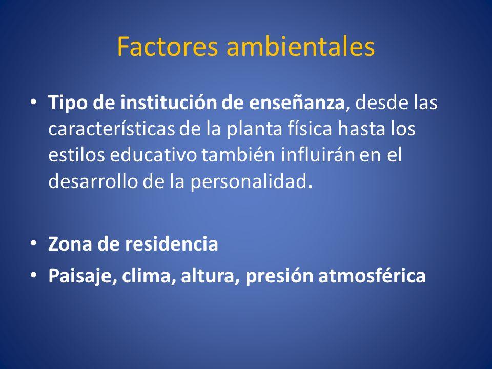 Factores ambientales Tipo de institución de enseñanza, desde las características de la planta física hasta los estilos educativo también influirán en