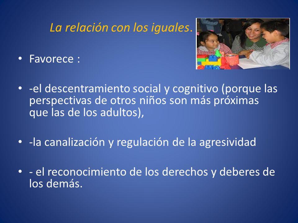 La relación con los iguales. Favorece : -el descentramiento social y cognitivo (porque las perspectivas de otros niños son más próximas que las de los