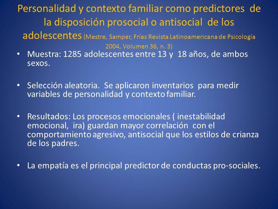 Personalidad y contexto familiar como predictores de la disposición prosocial o antisocial de los adolescentes (Mestre, Samper, Frías Revista Latinoam