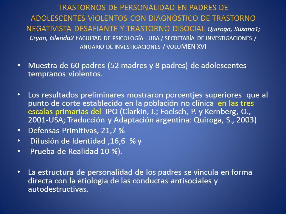 TRASTORNOS DE PERSONALIDAD EN PADRES DE ADOLESCENTES VIOLENTOS CON DIAGNÓSTICO DE TRASTORNO NEGATIVISTA DESAFIANTE Y TRASTORNO DISOCIAL Quiroga, Susan