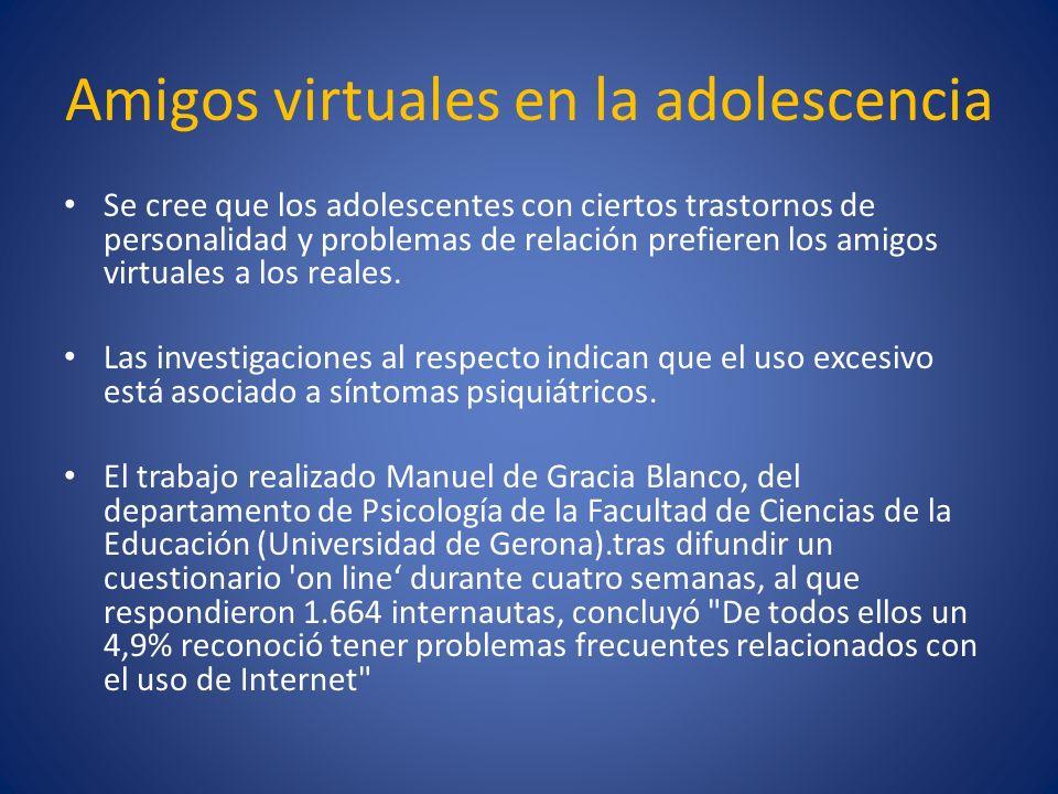 Amigos virtuales en la adolescencia Se cree que los adolescentes con ciertos trastornos de personalidad y problemas de relación prefieren los amigos v