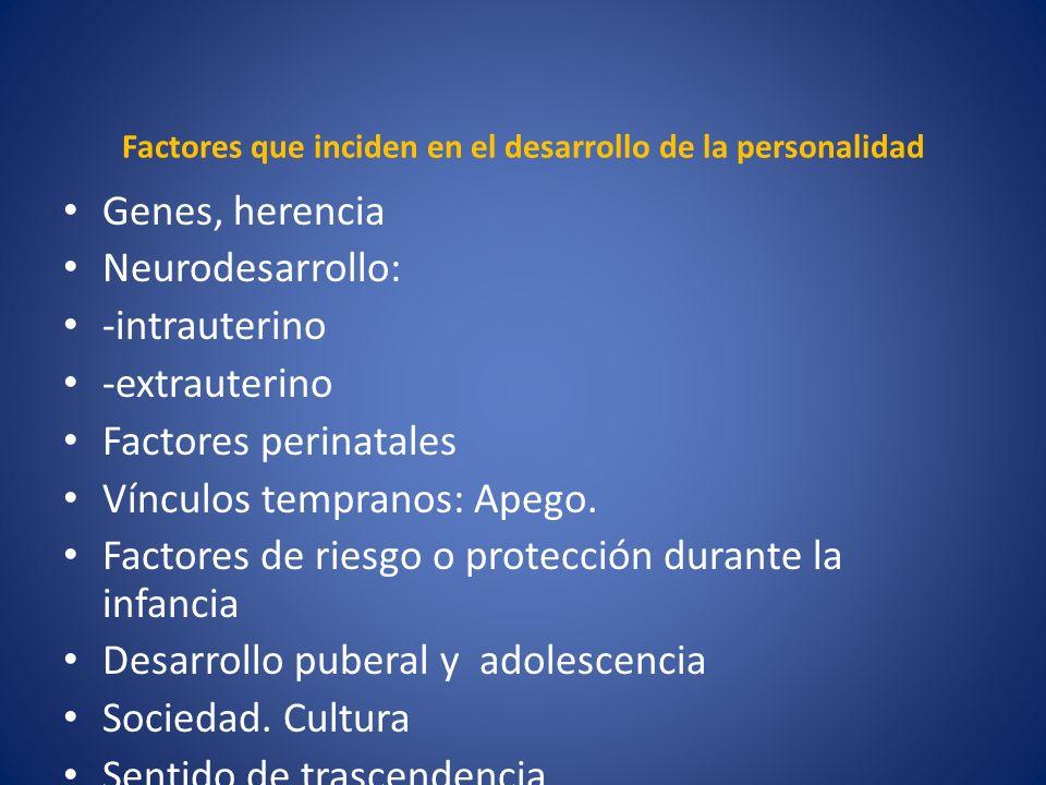 Factores que inciden en el desarrollo de la personalidad Genes, herencia Neurodesarrollo: -intrauterino -extrauterino Factores perinatales Vínculos te