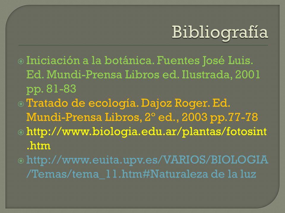 Iniciación a la botánica. Fuentes José Luis. Ed. Mundi-Prensa Libros ed. Ilustrada, 2001 pp. 81-83 Tratado de ecología. Dajoz Roger. Ed. Mundi-Prensa