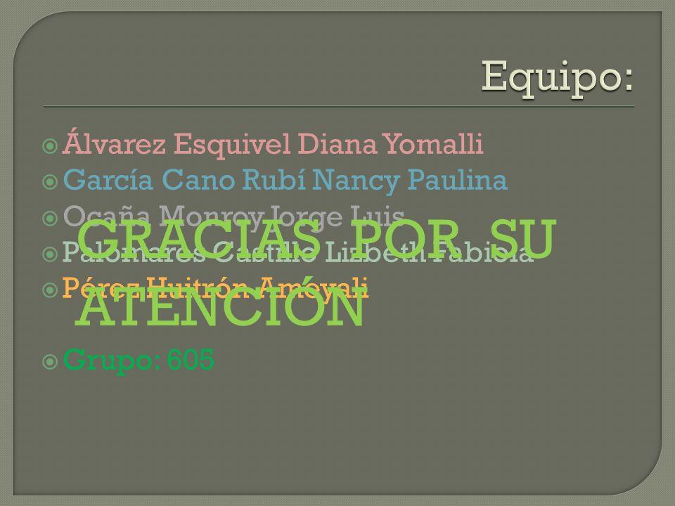 Álvarez Esquivel Diana Yomalli García Cano Rubí Nancy Paulina Ocaña Monroy Jorge Luis Palomares Castillo Lizbeth Fabiola Pérez Huitrón Ameyali Grupo: