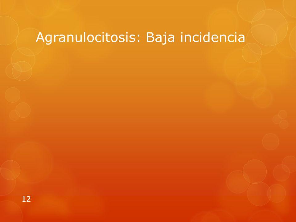 Agranulocitosis: Baja incidencia 12