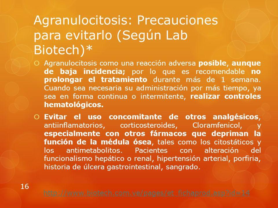 Agranulocitosis: Precauciones para evitarlo (Según Lab Biotech)* Agranulocitosis como una reacción adversa posible, aunque de baja incidencia; por lo que es recomendable no prolongar el tratamiento durante más de 1 semana.