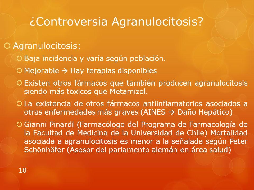 ¿Controversia Agranulocitosis.Agranulocitosis: Baja incidencia y varía según población.