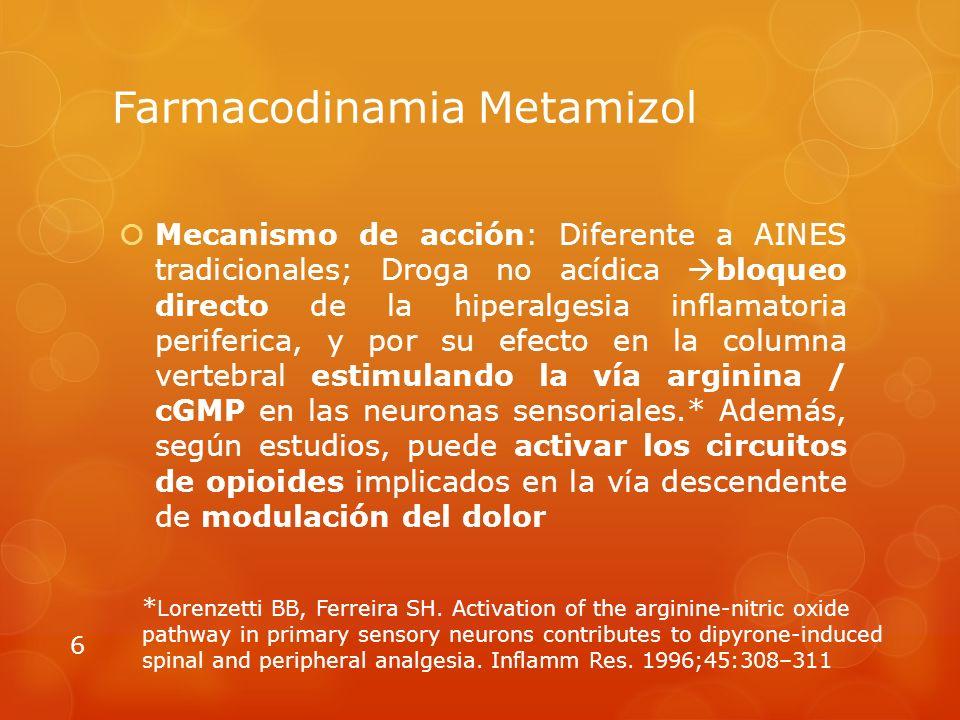 Farmacodinamia Metamizol Mecanismo de acción: Diferente a AINES tradicionales; Droga no acídica bloqueo directo de la hiperalgesia inflamatoria periferica, y por su efecto en la columna vertebral estimulando la vía arginina / cGMP en las neuronas sensoriales.* Además, según estudios, puede activar los circuitos de opioides implicados en la vía descendente de modulación del dolor 6 * Lorenzetti BB, Ferreira SH.