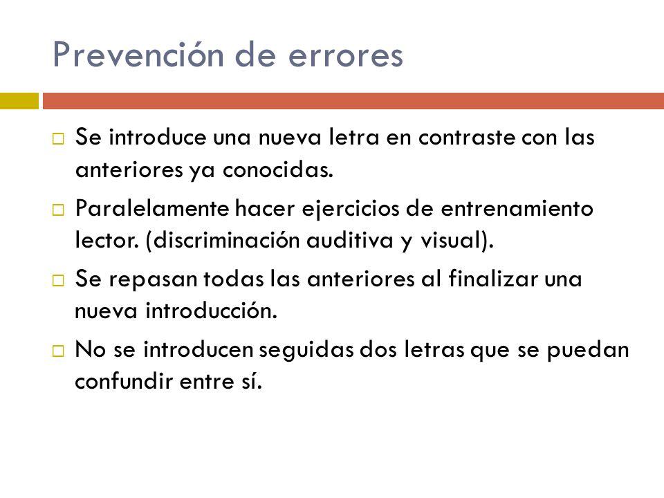 Prevención de errores Se introduce una nueva letra en contraste con las anteriores ya conocidas. Paralelamente hacer ejercicios de entrenamiento lecto